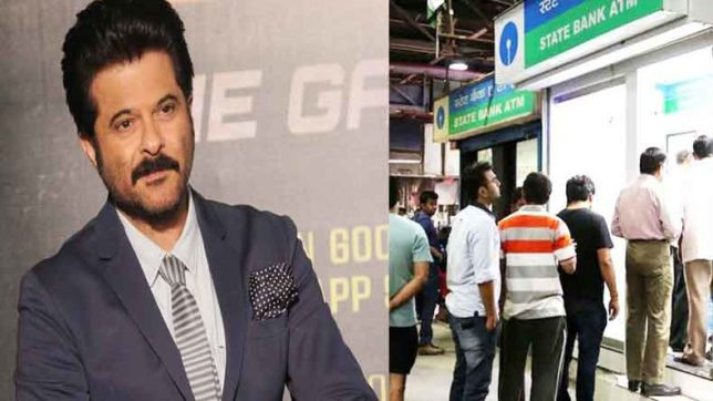 Bollywood actor anil kapoor is waiting in the que outside of atm for money
