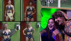 Bigg-Boss-11-priyank-sharma-wear-Hina-Khans-blue-monokini-swimsuit-and-hiten-tejwani-in-saree