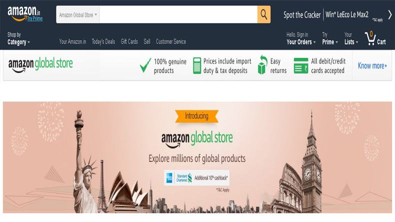 amazon brings its global store in india