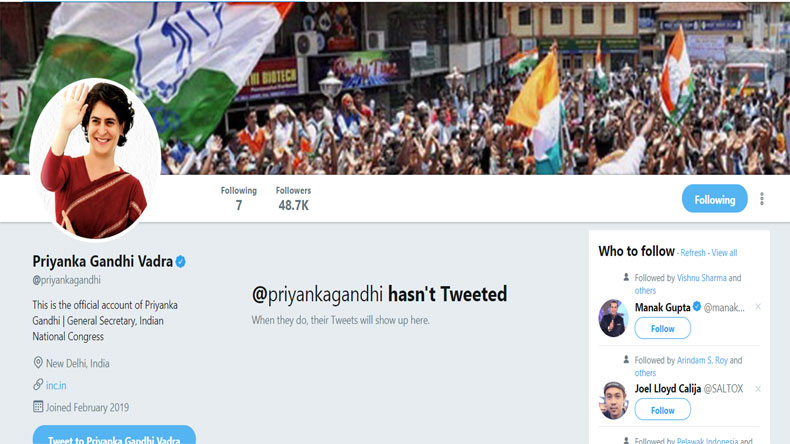 Priyanka Gandhi on Twitter Social Media Reaction
