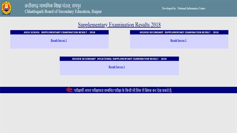 CGBSE Board 10th 12th Result 2019