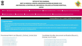 Rajasthan NEET 2019 Counselling Result