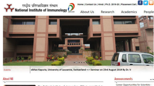 National Institute Of Immunology Recruitment 2019