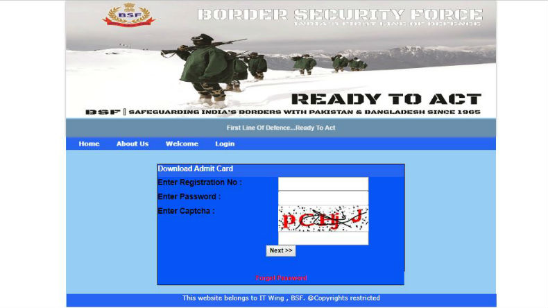 BSF Head Constable Admit Card 2019 Download